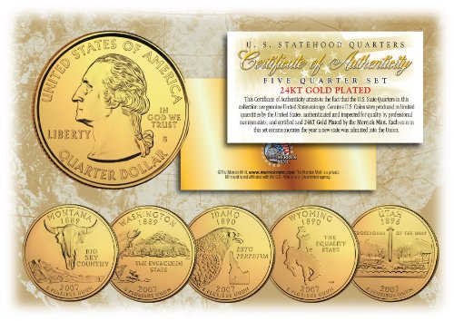 2007 US Statehood Quarters 24K GOLD PLATED 5-Coin Complete Set w/Capsules by Merrick Mint