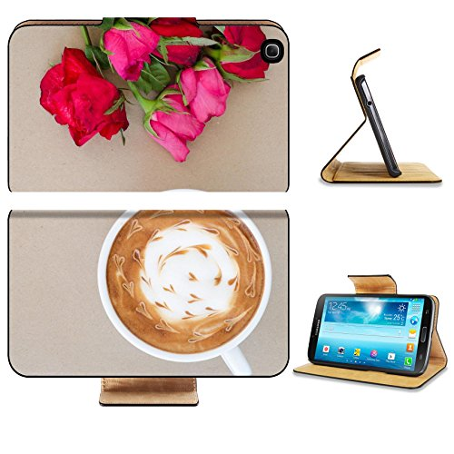 Samsung Galaxy Tab 3 8.0 Tablet Flip Case A cup of coffee with latte art and withered rose on brown paper background IMAGE 34976696 by MSD Customized Premium Deluxe Pu Leather generation Accessories H