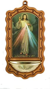 Hail Mary Gifts A Divine Mercy of Jesus holy Water Font in Wood-Tone with a Gold Bowl, 3.5x7. Made in Italy