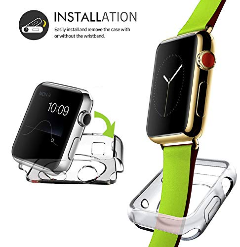 2 Packs, Jinxtech 40mm iWatch Case Soft TPU Shockproof Case Cover Bumper Protector Compatible with Apple Watch Case Series 4 (40mm)(Clear) by Jinxtech (Image #4)
