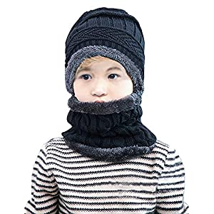MissShorthair Kids Winter Beanie Hat Scarf Set Warm Knitted Cap for Boys and Girls