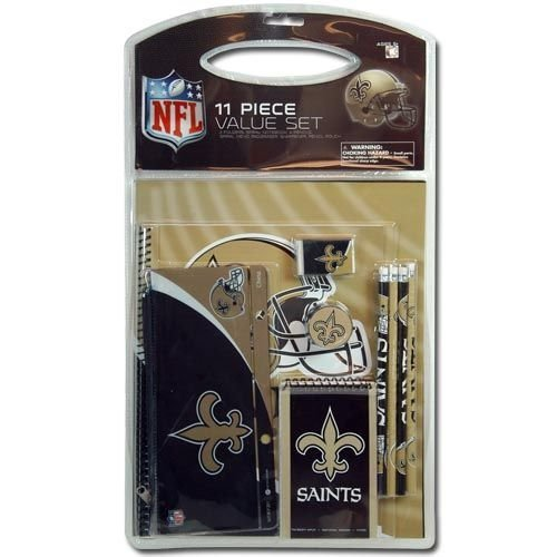 11pc NFL Saint Stationery Set - Pencil Pouch, Pencils, Erasers, Pencil Sharpener & More ()