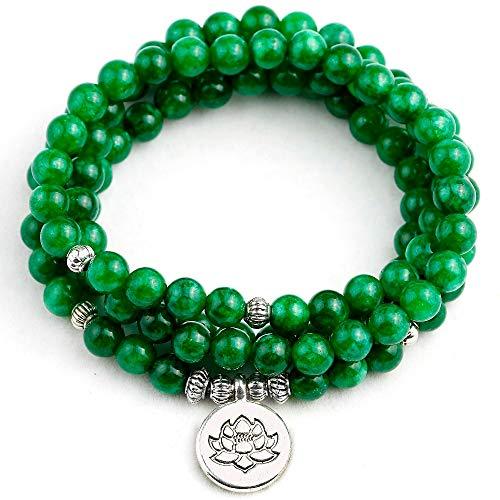 Green Aventurine Natural Stone Bracelets | Lotus Buddha Charm Bracelets | for Women, Men | Yoga Necklaces