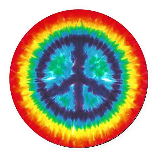- CafePress - Tie Dye Peace Sign Car Magnet - Round Car Magnet, Magnetic Bumper Sticker