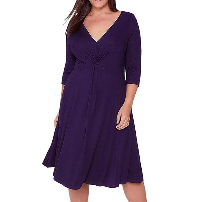 Vestido de fiesta mujer, Morwind vestido swing cuello de pico vestidos tallas grandes largo por la rodilla vestido con manga 3/4: Amazon.es: Ropa y ...