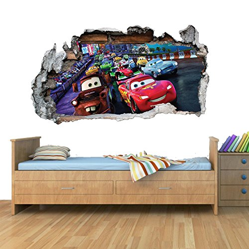 Disney Cars Planes Race Smashed Wall Art Vinyl Decal Stickers Home Decor Boys Girls Children Bedroom M