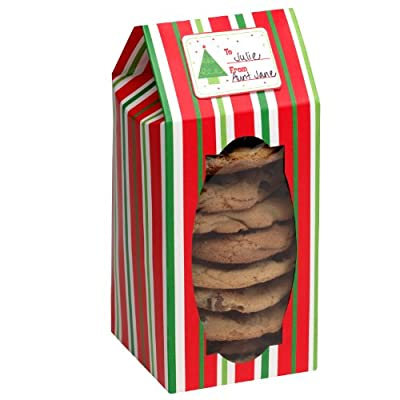 Red & Green Stripes - Tall Cookie Boxes (6 count) Party Accessory