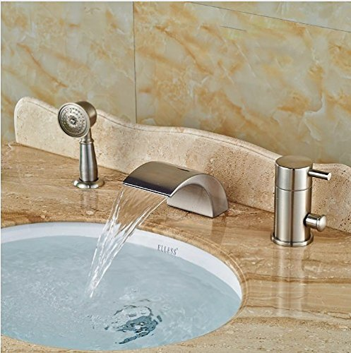 Gowe Widespread Brushed Nickle Tub Faucet Bathroom Sink Tap Mixer Faucet W/Hand Showe 4