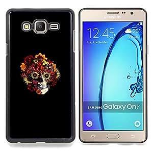 "Qstar Arte & diseño plástico duro Fundas Cover Cubre Hard Case Cover para Samsung Galaxy On7 O7 (Cráneo floral - Goth Arte"")"