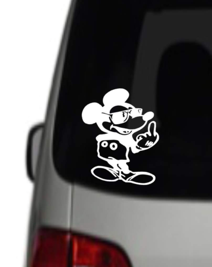 Gloss White vinyl sticker car windows bedroom girl kids toy box wall decoration laptop mickey mouse flipping the middle finger 4 inches by 6 inches