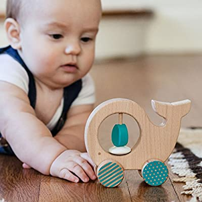 Petit Collage Wooden Push Along Animal Car Whale : Baby