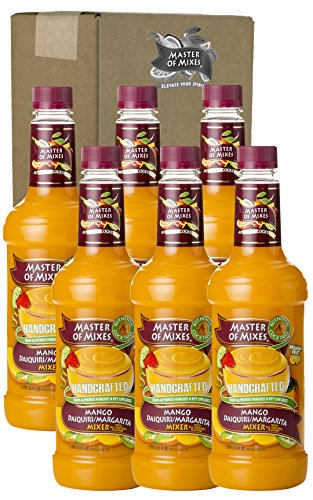 Master of Mixes Mango Daiquiri / Margarita Drink Mix, Ready to Use, 1 Liter Bottle (33.8 Fl Oz), Pack of 6