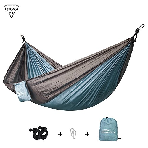 Forbidden Road Hammock Single & Double Camping Portable Parachute Hammock For Outdoor Hiking Travel Backpacking - 210D Nylon Taffeta Hammock Swing - Support 400lbs Ropes Carabiners Included - 4 Colors