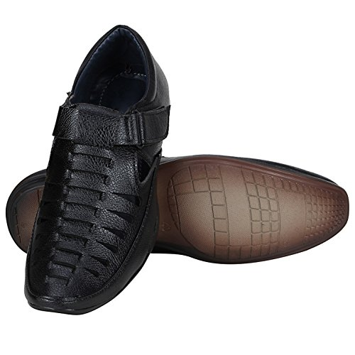Emosis Men Tan Brown Black Colour Outdoor Formal Casual Ethnic Loafer Slip-On Sandal Shoe