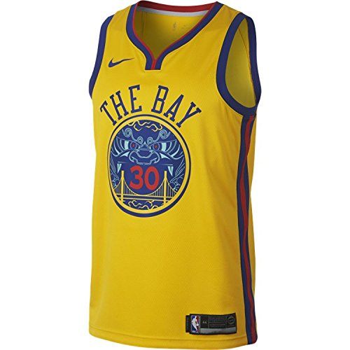 (NIKE Stephen Curry Golden State Warriors City Edition Swingman Jersey - Gold (Large))