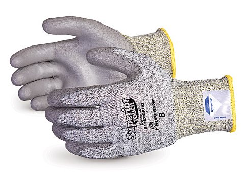 Superior S13SXGPUQ Superior Touch Dyneema Speckled String Knit Glove with Polyurethane Coated Palm, Work, Cut Resistant, 13 Gauge Thickness, Size 8, Gray (Pack of 1 Pair) (Gloves Coated Dyneema Palm)