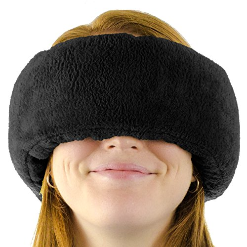 Wrap-a-Nap™ Travel Pillow, Sleep Mask & Ear Muff. Adjustable Soft Fleece Neck and Head Pillow. Machine Washable. One-Size-Fits-All. (Star Block Small)