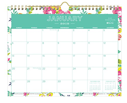 Day Designer for Blue Sky 2019 Monthly Wall Calendar, Twin-Wire Binding, 11