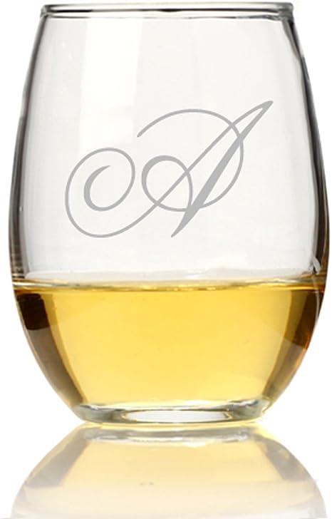 Single Initial Wine Glass