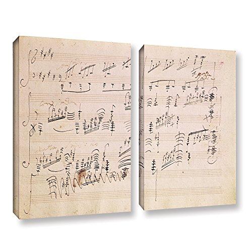Moonlight Sonata Sheets Music (ArtWall Edgar Degas's Score Sheet of 'Moonlight Sonata' 2 Piece Gallery-Wrapped Canvas Set, 36 x 48)