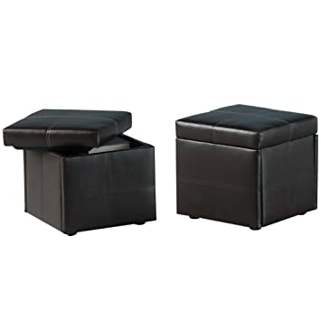 Brown Faux Leather Small Bedroom Storage Stool Cube Bedroom