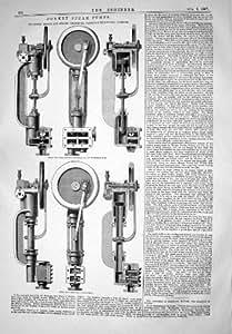 LAS BOMBAS 1867 DE VAPOR DEL BURRO BROWN WILSON DIRIGEN LA BOMBA DE LA FÁBRICA DEL ALGODÓN
