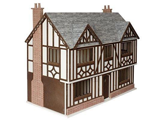 Dollshouse Workshop Tudor Beamed 1:12 Scale Dolls House Kit Unpainted Mdf Ready To Assemble Mj09 (House Unpainted)