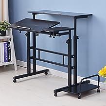 Dland Sit-Stand Desk Cart Mobile Height-Adjustable Sit to Stand Office Desk Riser Standing Table Workstation Mobile Desk,Black