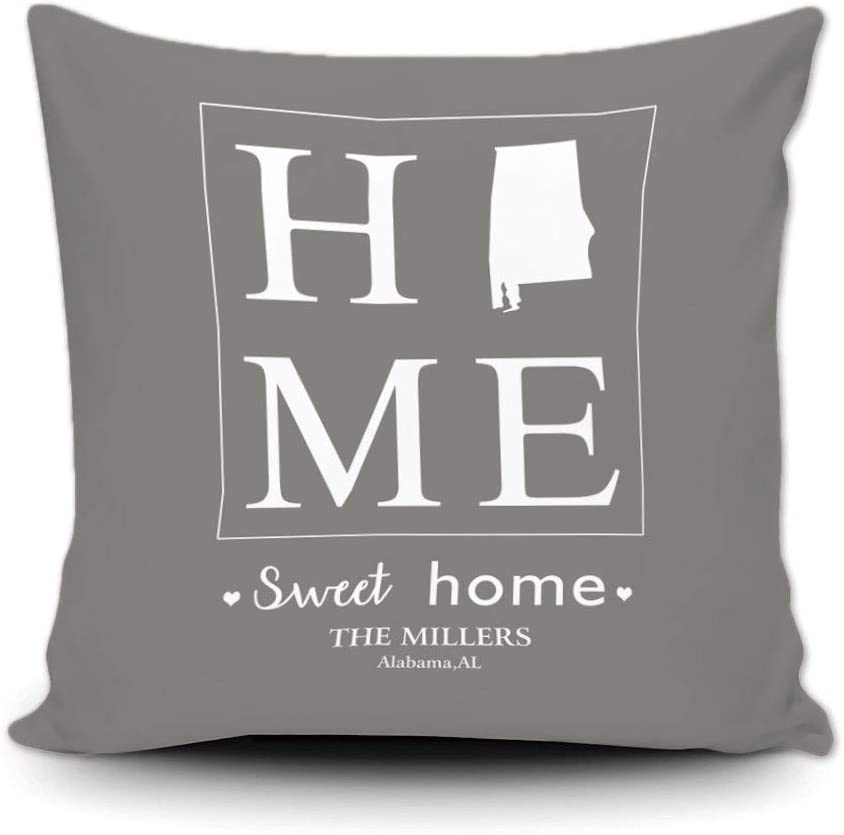 GUGLILI Sweet Home Alabama State Throw Pillow Cover Housewarming Gift Customize Family Name Decorative Canvas Pillow Cases 18x18 Inch Grey