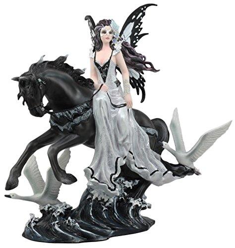 Ebros Black Beauty Masquerade Swan Fairy Riding Black Horse On Restless Waves Statue 12.25