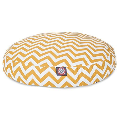 Yellow Chevron Medium Round Indoor Outdoor Pet Dog Bed With Removable Washable Cover By Majestic Pet Products by Majestic Pet by Majestic Pet