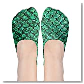 Bright Green Pastel Mermaid Women No-Show Casual Liner Socks Low Cut Ankle Socks Boat Socks
