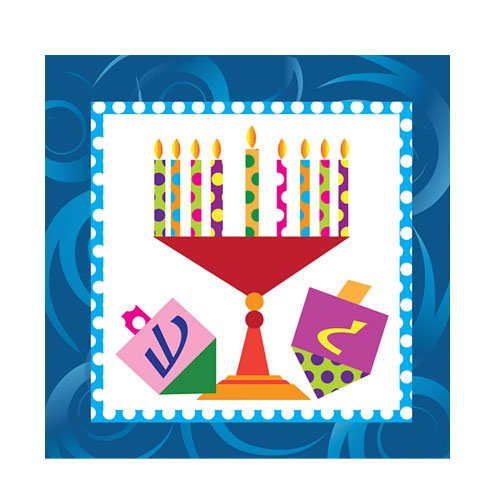 (Hanna K. Signature Collection 75 Count Happy Chanukah Beverage Napkin, Multicolor)