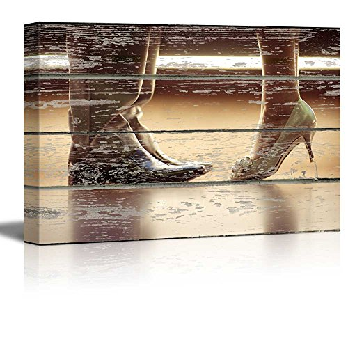 "Wall26 - Canvas Wall Art - Kissing Couple with Woman on her Tiptoe on Vintage Wood Textured Background - Rustic Country Style Modern Giclee Print Gallery Wrap Home Decor Ready to Hang - 24"" x 36"""