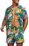COOFANDY Men's Hawaiian Short Sleeve Shirt Aloha Print Casual Beach Shirts Olive Green
