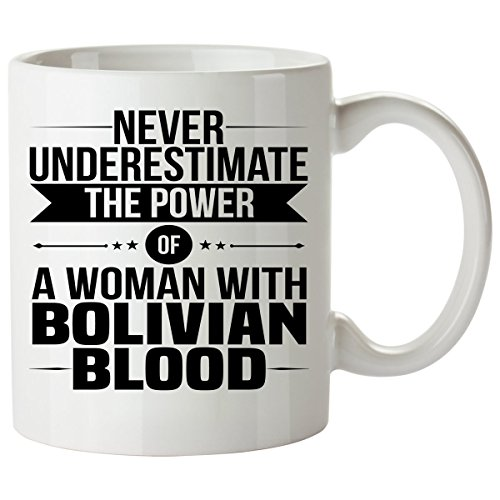 Brazil Traditional Costume For Kids (Never Underestimate BOLIVIAN Coffee Mug 11 Oz - Good Gifts for Girls - Unique Coffee Cup - Decor Decal Souvenirs Memorabilia)