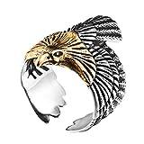 SINLEO Men's Stainless Steel Hawk Eagle Ring Skyhawk Sculpture Biker Band Silver Gold Size 10