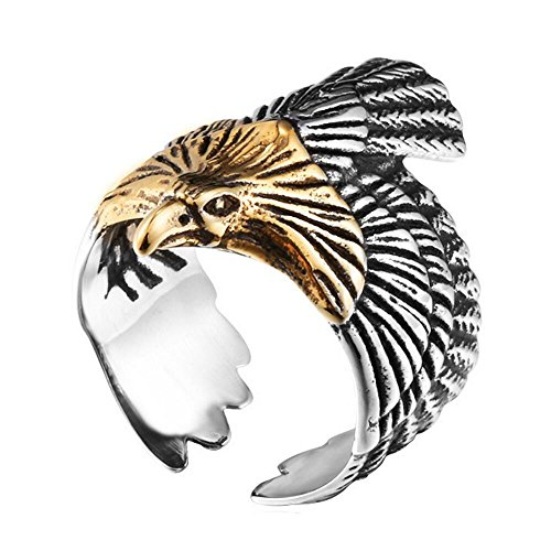 SINLEO Men's Stainless Steel Hawk Eagle Ring Skyhawk Sculpture Biker Band Silver Gold Size 9