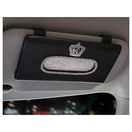 LuckySHD Car Sun Visor Tissue Cover Holder with Crystal Crown - Black