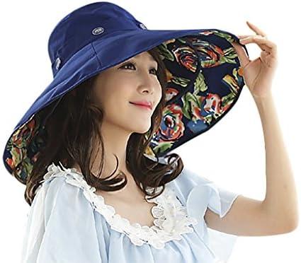 つば広ハット 日よけ帽子 レディース 日焼け止め UVカット 紫外線対策 サンバイザー ビーチハット 裏花柄 帽子 可愛い 折りたたみ可能 サイズ調整可能 アウトドア お出掛け 海辺 旅行 熱中症対策 夏 用帽子 女性 プレゼント