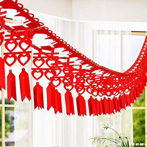 SNKYY 2pcs Non Woven Fabrics Double Happiness Garland Traditional Chinese Wedding Decorations Hanging Banner