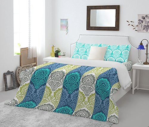 Spaces Atrium 144 TC Cotton Double Bedsheet with 2 Pillow Covers - Turquoise Blue and Green