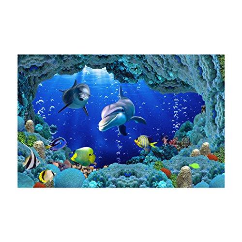 Libaoge Fish Tank Background The Underwater World Aquarium Backdrop Sticker Wallpaper Decoration PVC Adhesive Decor Paper Cling Decals Poster 30