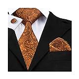 Tie Set Silk Paisley Yellowish Brown Cufflinks Pocket Square Stylish