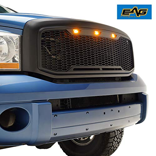 E-Autogrilles 41-0195MB EAG Replacement Upper ABS Grille with Amber LED Lights-Matte Black for 06-08 1500/06-09 Dodge Ram 2500/3500