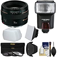 Canon EF 50mm f/1.4 USM Lens with 3 Filters + Hood + Flash & 2 Diffusers + Kit for EOS 6D, 70D, 5D Mark II III, Rebel T3, T3i, T4i, T5, T5i, SL1 DSLR Cameras