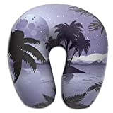 SARA NELL Memory Foam Neck Pillow Hawaii Night Tropic Island U-Shape Travel Pillow Ergonomic Contoured Design Washable Cover For Airplane Train Car Bus Office