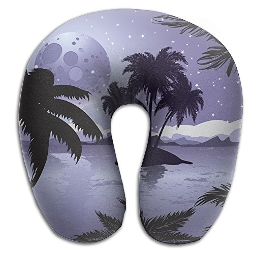 SARA NELL Memory Foam Neck Pillow Hawaii Night Tropic Island U-Shape Travel Pillow Ergonomic Contoured Design Washable Cover For Airplane Train Car Bus Office by SARA NELL