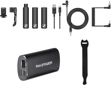 Sennheiser XSW-D Portable ENG Set with RAVPower Luster 6700mAh Charger & Fastener Straps 10-Pack Bundle