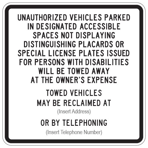 STOPSignAndMore - Official R100B California Disabled Parking Tow-Away Signs - - Away Sign